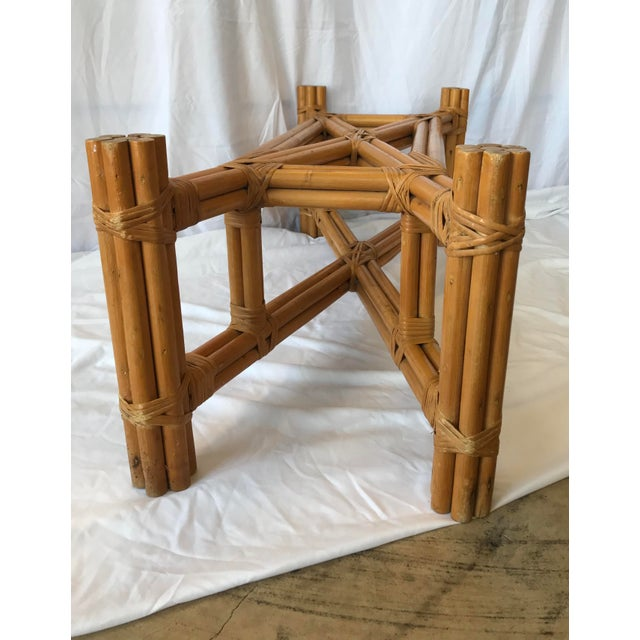 1950s Boho Chic X Design Rattan Coffee Table For Sale - Image 5 of 9