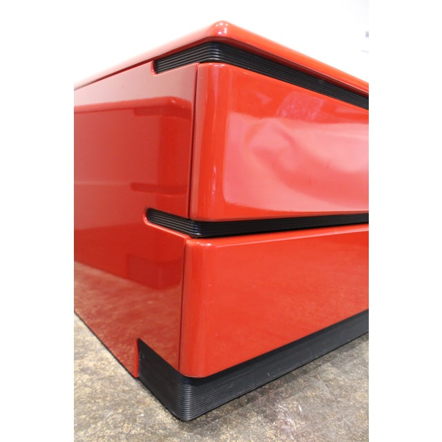 Wood 80s Modern Cherry Red Lacquered Nightstands by Roger Rougier For Sale - Image 7 of 11