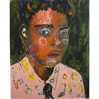 Original Signed Abstract Portrait Painting For Sale
