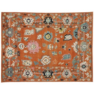 Contemporary Oushak Style Area Rug - 8′9″ × 11′6″ For Sale