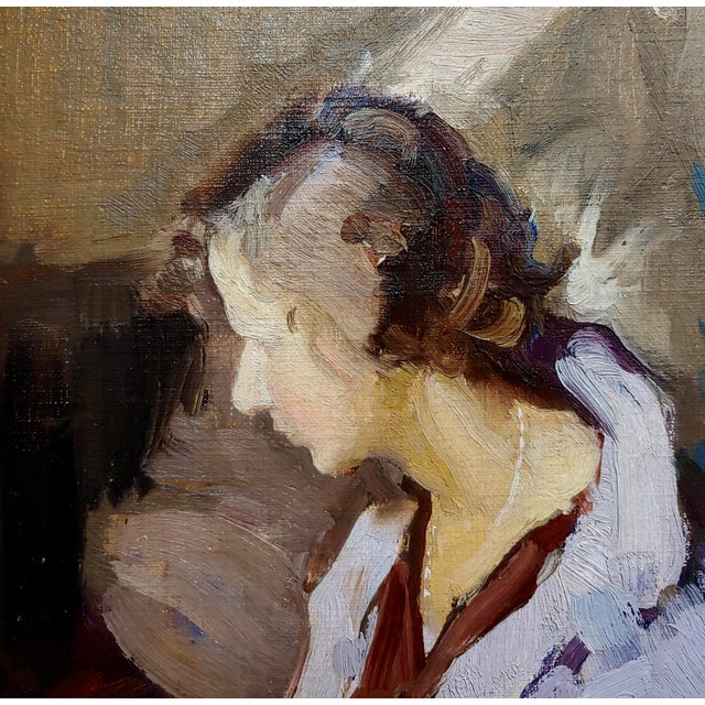 1950s Gladys Nelson Smith - Woman in Purple Looking at Flowers- Beautiful Oil Painting For Sale - Image 5 of 11