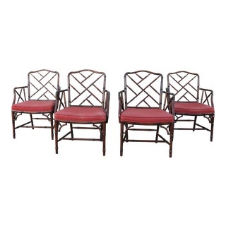 Vintage Set of 4 Faux Bamboo Chinese Chippendale Chairs For Sale