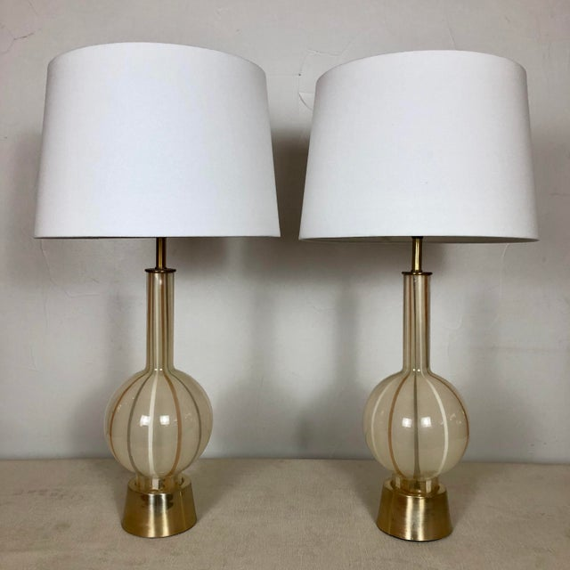 Stunning 1950s Italian Murano Glass Handblown Pair of Table Lamps. Original adjustible height brass finials! Rewired at...