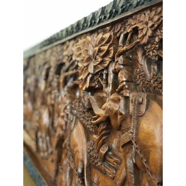 Large Vintage Wall Sculpture 3d Hand Carved Relief Teak Panel For Sale - Image 12 of 13