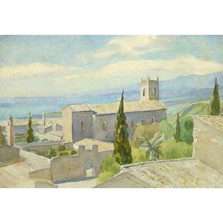 Vintage Italian Watercolor Landscape - Tuscan Coast For Sale
