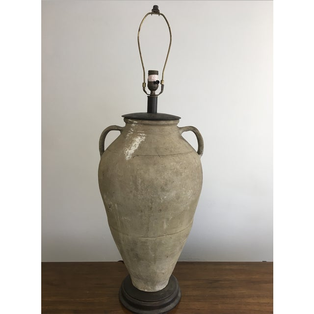 Vintage Mid-Century Oversized Clay Jug Table Lamp For Sale - Image 9 of 9