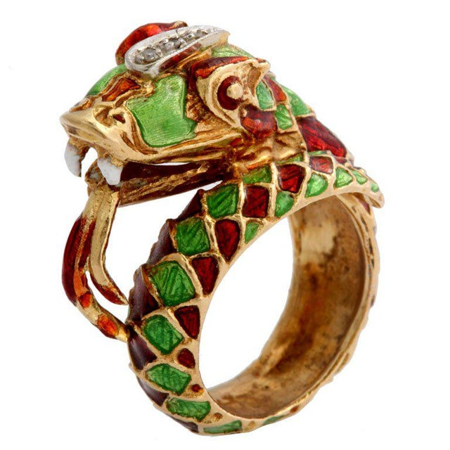 Enamel Italian Green and Red Enamel Snake Ring For Sale - Image 7 of 7
