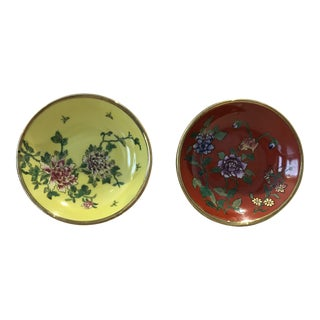 Japanese Porcelain and Brass Bowls - a Pair For Sale