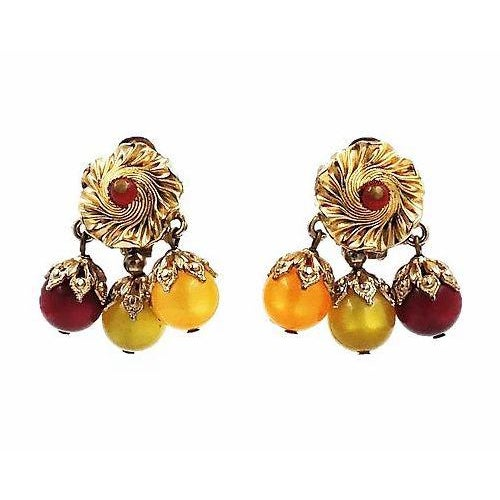 Metal Napier Red, Green & Yellow Moonglow Drops Earrings For Sale - Image 7 of 7