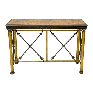 Neo-Classical Style Gilt Metal & Bronze Console Table Att. To Maitland-Smith For Sale