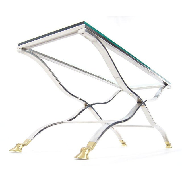 Early 20th Century Mid Century Modern Chrome Glass Top Console Table with Brass Hoof-Feet For Sale - Image 5 of 10