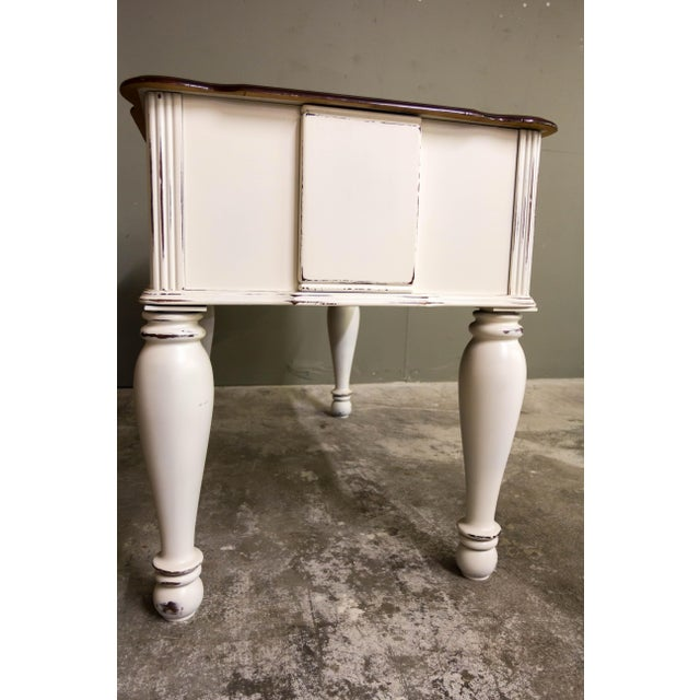Vintage Original Light Distressed Entry Two Drawer Console Table For Sale In Tampa - Image 6 of 7