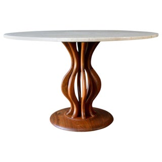 1970s Italian Travertine and Sculpted Walnut Dining or Bistro Table For Sale