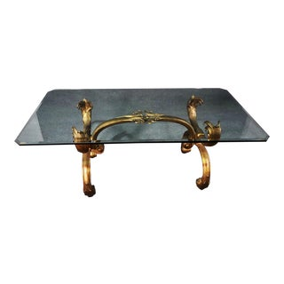 Hollywood Regency Style Gilded Metal Glass Top Coffee Table For Sale