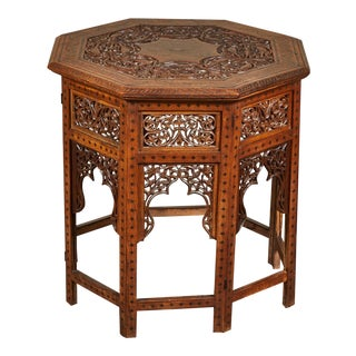 20th C. Indian Octagonal Brass Inlaid Table For Sale