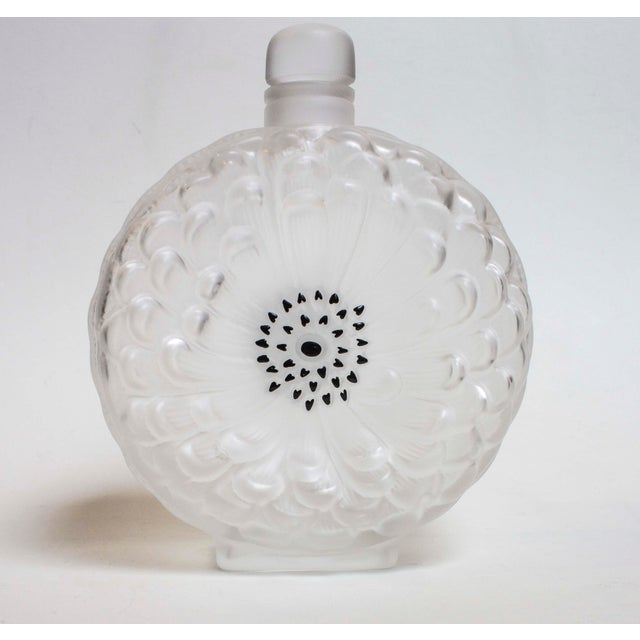 "Lalique ""Danlia N. 2"" Perfume Bottle The center is decorated with black enamel. 7"" High x 1.5"" Deep x 5.5"" Wide"