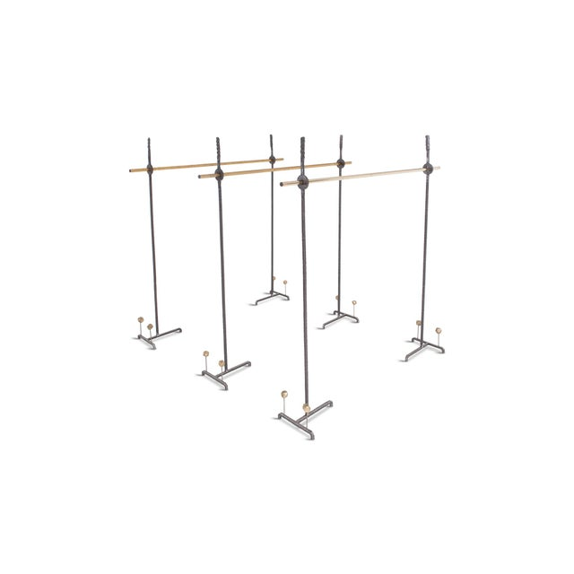 Hollywood Regency Bespoke Clothing Rack in Wrought Iron and Brass For Sale - Image 4 of 10
