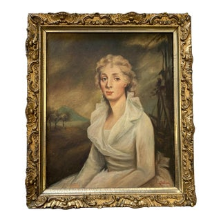 Framed Portrait of a Woman, Signed For Sale