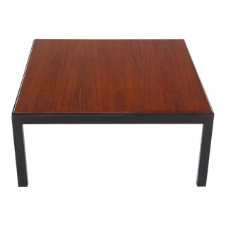 Vintage Mid Century Ebonised Frame Walnut Top Square Coffee Occasional Table For Sale