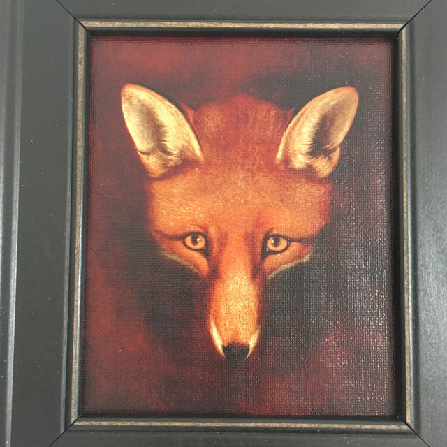 "An 4.5""x 5.5"" reproduction on canvas of RENARD, THE FOX by Reinagle, mounted to a board and framed to an outside dimension..."
