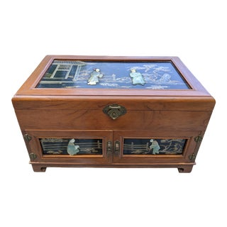 Antique Chinese Tigerwood Oak with Jade & Agate on Black Lacquer Jewelry Chest For Sale