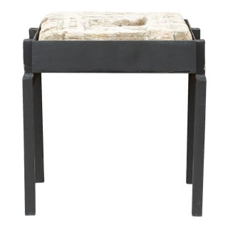 Antique Fatehpur Stone Niche End Table on Custom Stand For Sale