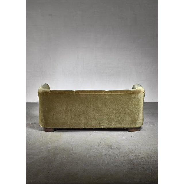 Fritz Hansen Ole Wanscher Green Velour Sofa for Fritz Hansen, Denmark For Sale - Image 4 of 6