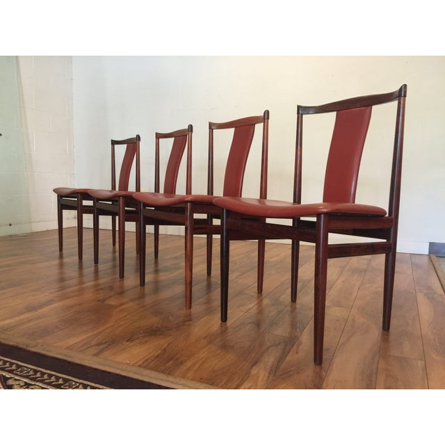 Rosewood Henning Sorensen Rosewood & Leather Dining Chairs - Set of 4 For Sale - Image 7 of 11
