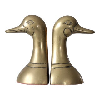 Mid-Century Brass Bird Bookends - a Pair