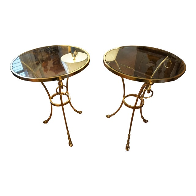 Mid-Century Brass and Glass Top Gueridon Tables - a Pair For Sale