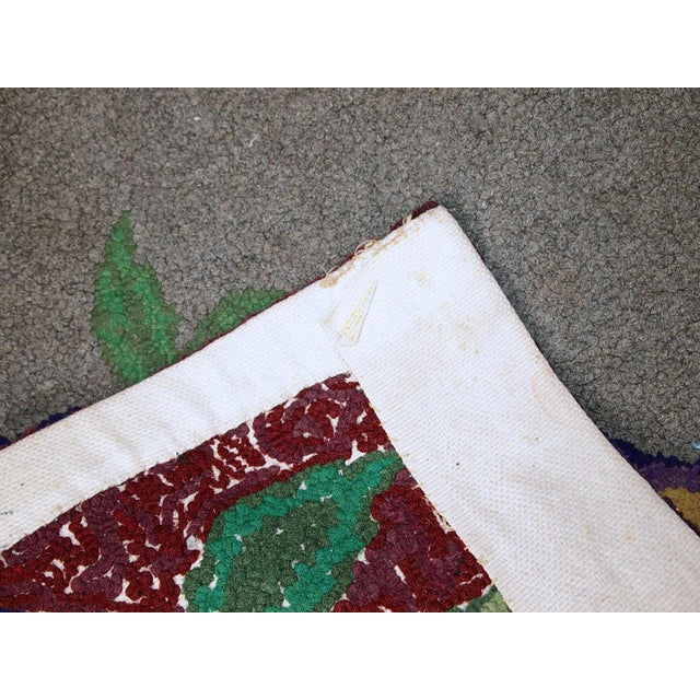 """Textile 1920s Antique American Hooked Rug - 2' X 3'3"""" For Sale - Image 7 of 10"""