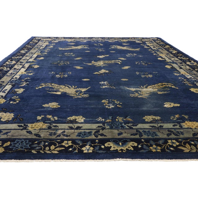 Art Deco Antique Chinese Peking Art Deco Rug With Chinoiserie Style - 09'01 X 13'07 For Sale - Image 3 of 10