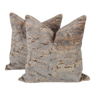 Taupe and Blue Cut Velvet Ombre Pillows, a Pair For Sale