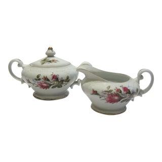 Vintage Moss Rose Cream & Sugar Set - 2 Pieces For Sale