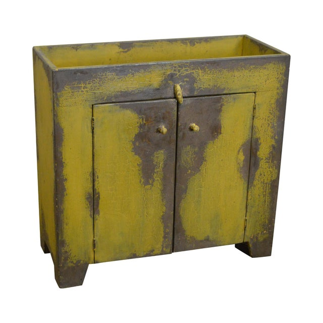 Primitive Distressed Painted Country Small Dry Sink Cabinet For Sale - Image 11 of 11