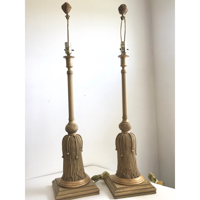 1970s Hollywood Regency Gilt Rope and Tassel Lamps - a Pair For Sale - Image 6 of 10
