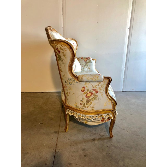 Amazing Vintage Designer French Antique Settee. Gorgeous Print fabric with Gold/Wood Frame. This piece has amazing...