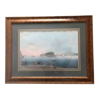 "19th Century Vintage ""Islands of Nisida and Lazaretto"" Painting For Sale"