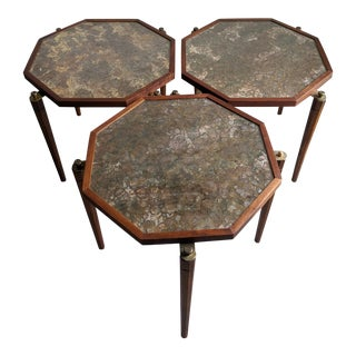 Vintage John Keal Style Octagonal Stacking Side Tables - a Set of 3 For Sale