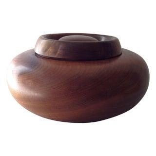 Vintage Wooden Lidded Bowl For Sale