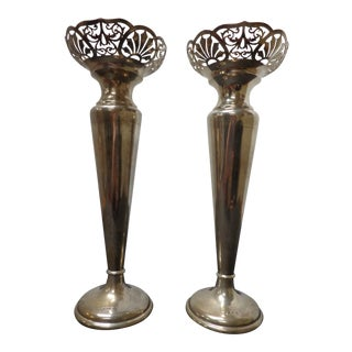 Antique Walker & Hall Sheffield Sterling Silver Candlesticks - a Pair For Sale