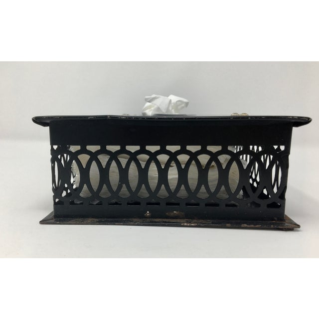 Vintage Mid-Century Paris Scene Black and Pink Metal Tissue Holder For Sale In Minneapolis - Image 6 of 10