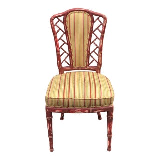 Vintage Red Hollywood Regency Chair W Scalamandre Silk Stripe 1 of 2