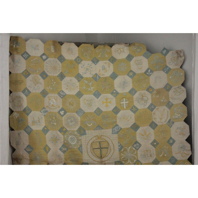 Vintage English Ramsgate Heraldry Linen Embroidered Block Quilt For Sale - Image 6 of 12