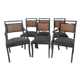 Italian Regency Black Lacquered Dining Chairs - Set of 6