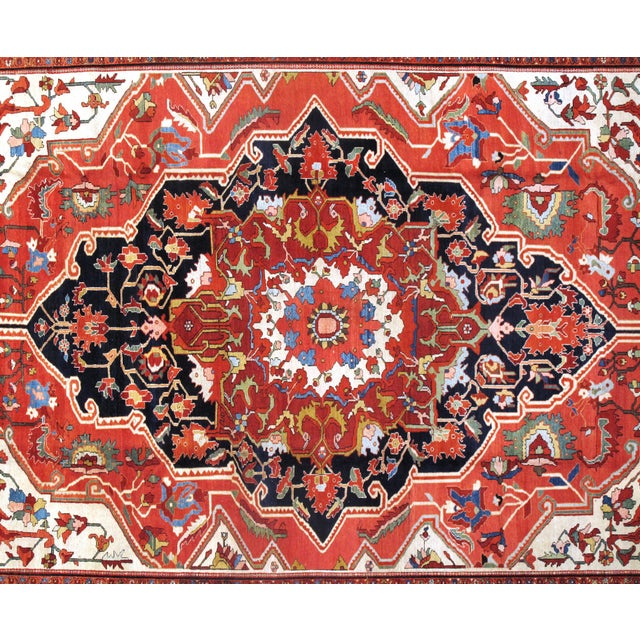 "Islamic 19th Century Persian Sarouk Farahan Rug - 10'6"" X 15'3"" For Sale - Image 3 of 5"