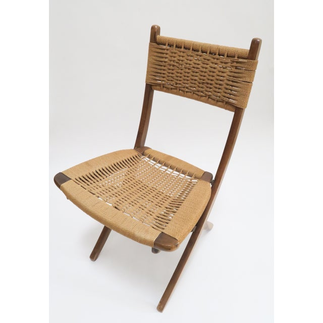 Vintage Danish Modern Rope Folding Chair For Sale In Los Angeles - Image 6 of 7