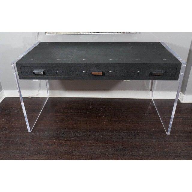 Metal Sleek Black Shagreen Desk with Lucite Side Panels For Sale - Image 7 of 7