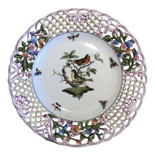 English Traditional Herend Hand Painted Porcelain Rothchild Bird Decorative Plate