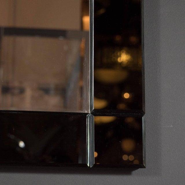 Custom Handmade Rectangular Mirror with Beveled Black Mirrored Glass Border For Sale - Image 4 of 5